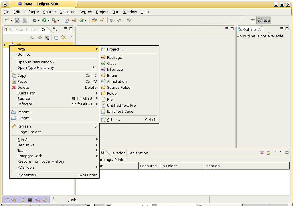 Eclipse IDE: Launching a New Project